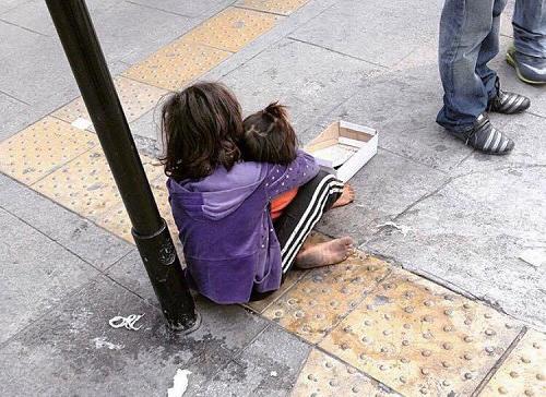 Niños pidiendo limosna en la calle Florida. Buenos Aires, Argentina